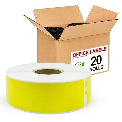 20 Rolls of 30252 Yellow Compatible Address Labels for DYMO 1-1/8'' x 3-1/2''