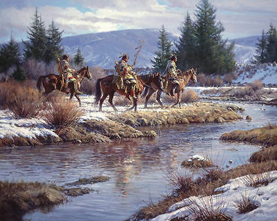 """Decor  Art Canvas Print, Oil Painting Blackfoot Indians In The Lake ,16""""x20"""""""