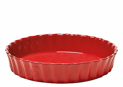 Emile Henry Deep 28cm Flan Pie Oven Gratin Dish Claret Red Ceramic Fluted Edge