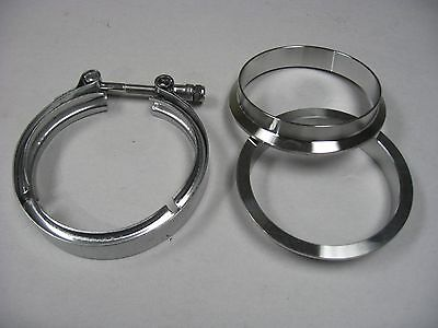"""3.50"""" inch Stainless Steel #304 Turbo Exhaust Down Pip Vband Clamp w/2 Flange"""