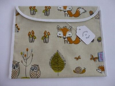 Handmade Oil Cloth 'Woodland Fox' -  Baby Health Red Record Book Holder - BNWT