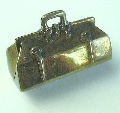 Antique Sterling Silver Pill Box In the Form of Satchel/Handbag