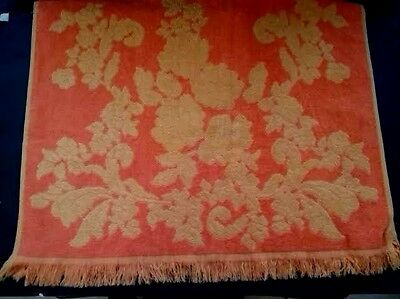 VTG DAMASK Style Bath Towel Orange with Yellow Rose Reversible Color Monticello