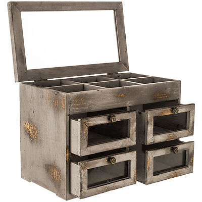 Gray Organizer with Glass Paneled Drawers  Country Farmhouse Rustic Jewelry Box