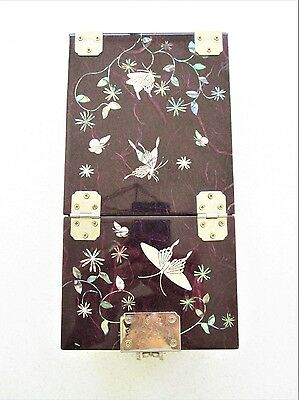 Vintage Asian Lacquer Mother of Pearl Butterfly Jewelry Box with Mirror Signed