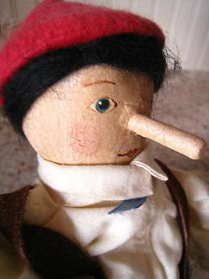 "Vintage Wood - Paper Mache - Fabric Pinocchio Doll by Judy Wacklin 1990 15"" OOAK"