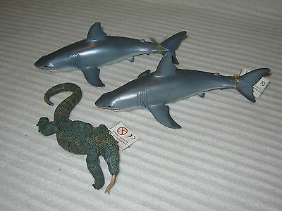 PAPO - Animals x 3 - Sharks and A Lizard - Lot - Figurines - New