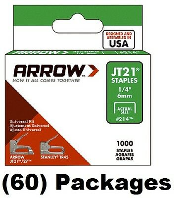 "(60) packages Arrow Fastener # 214 JT21 TR45 1000 Pack 1/4"" Staples"