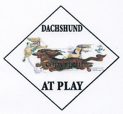 Dachshund At Play Sign by Mike McCartney