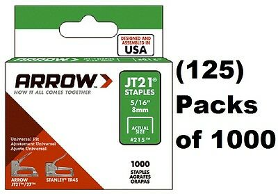 "(125) Arrow Fastener # 215 JT21 TR45 1000 Pack 5/16"" Staples"
