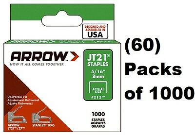"(60) Arrow Fastener # 215 JT21 TR45 1000 Pack 5/16"" Staples"