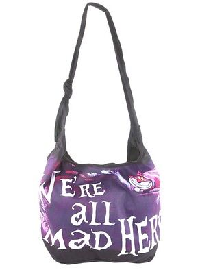 Disney Alice In Wonderland Cheshire Cat We're All Mad Here Hobo Bag Tote