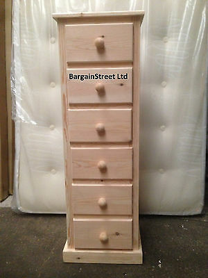 Natural Wood 6 Drawer Narrow Tall Slim Chest Hand Made Ready Built