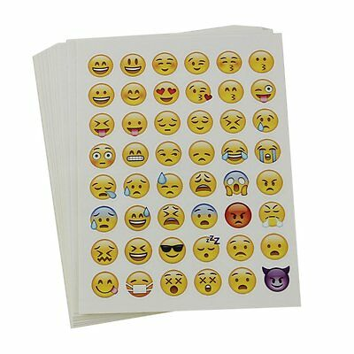 20 Sheets EMOJI SMILEY FACE STICKERS 48 Die Cut Phone Tablet Laptop Decor Labels