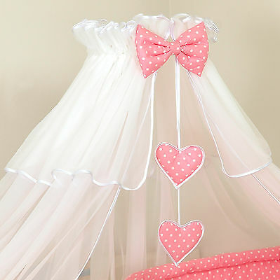 Brand New- Pink Polka Dot-   BABY COT &COTBED CANOPY DRAPE-BIG 480cm +HOLDER