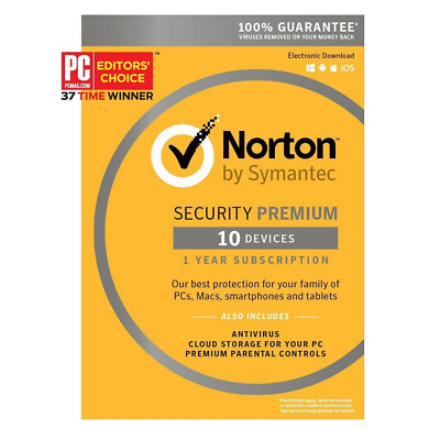 Symantec Norton Security Premium 10 Devices Product Key Card PC/Mac/iOS/Android