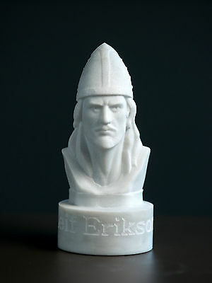 MARBLE bust of Leif Erikson statue carved Greek marble figurine sculpture