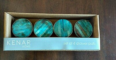 New Kenar set of  4 four Turquoise Ceramic Drawer Pulls Knobs
