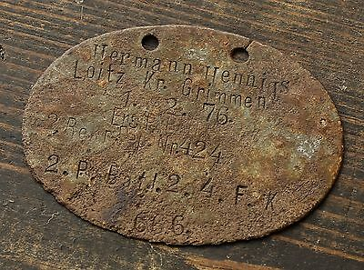 Original WWI German army Dog Tag id (Pi) Pionier -Sapper- Loitz. Kr. Grimmen