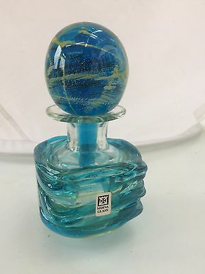 Vintage Mdina Malta Glass Perfume Bottle Vase with Stopper, Sticker & Signed