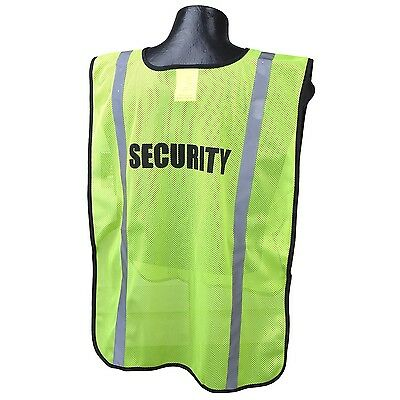 Full Source SECURITY Safety Vest Green Mesh with Reflective Stripes