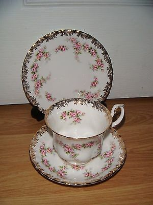 Royal Albert Dimity Rose Trio Tea Cup Saucer Side Plate ~ 2nd Quality Excellent