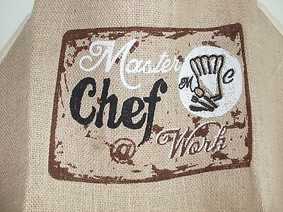 Soft Jute Apron Baking BBQ Crafting 71 cm Master Chef Front Pockets Male/Female