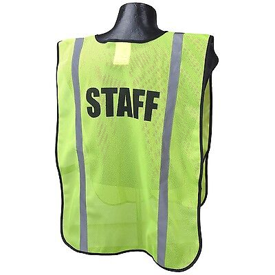 Full Source STAFF Safety Vest Green Mesh with Reflective Stripes