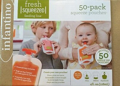 NEW Squeeze Pouches Infantino 50 Count Fresh New Baby Food Station Feeding Puree