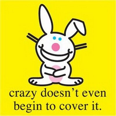 Happy Bunny Crazy Doesn't Begin To Cover It Button B-HB-0008