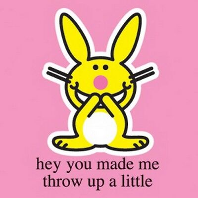 Happy Bunny Throw Up Button B-HB-0004