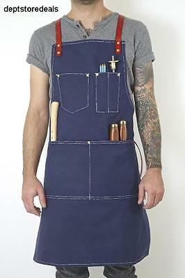 Canvas & Genuine Leather Utility Apron w/ Pockets For Brass Day Men Hardware Top