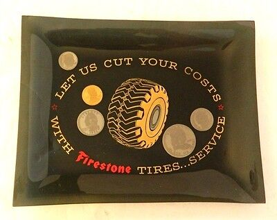 Unusual Vintage Firestone Tires Glass Advertising / Promotional Tray, 1960s?
