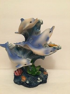 "Candle Holder 4 Dolphins Swimming Waves Ocean Base Plants SeaShells 6 1/2"" t"