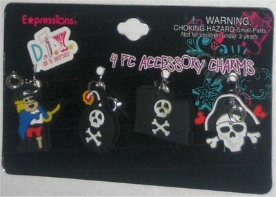 Pirate Accessory Charm Keychain Set - 4 Charms - (Rainbow Expressions)