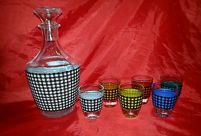 Vintage 1950s PLAID Multi-Coloured Shot Glass and Decanter Set - Made in France