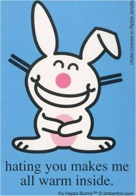 Happy Bunny Hating You Warm Inside Sticker