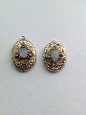 Antique Victorian Gold Earrings With Opals And Paste Gemstones
