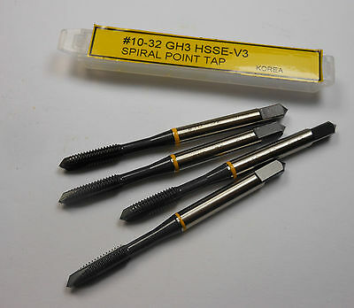 Spiral Point Taps #10-32 UNF H3 3FL HSSE-V3 Yellow Ring Qty 4 -2924E1496D