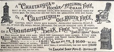Antique 1895 Ad (1800-16)~Larkin Soap Co. Buffalo, Ny. Premium Furniture Promo.