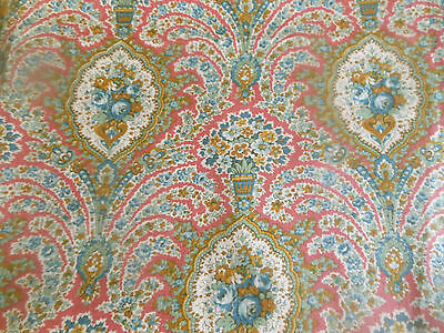 Antique Jacobean Roses Paisley Floral Cotton Fabric ~ Pink Blue Green Mustard