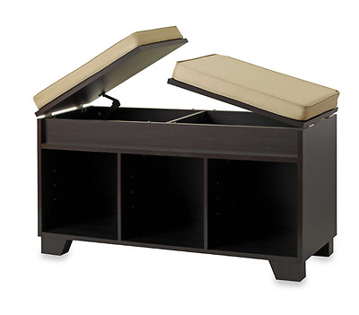 REAL SIMPLE 3-CUBE SPLIT-TOP BENCH STORAGE UNIT IN ESPRESSO New