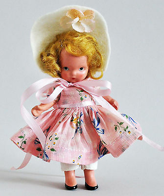 1940s Nancy Ann Storybook Doll Mistress Mary #119 Pudgy w Short Arms Hat Flower