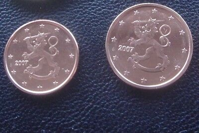 Finland 2 Coins 1 & 2 Euro Cents 2007 New BUNC from Roll *rare