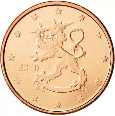 Finland 2 Coins Different 1 & 2 Euro Cents 2010 New BUNC from Roll *rare