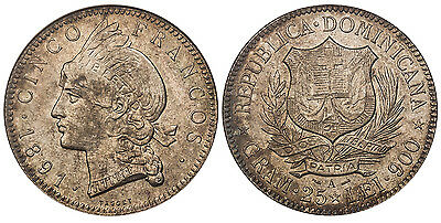 DOMINICAN REPUBLIC 1891-A AR 5 Francos NGC MS63 KM 12 Lightly toned Rare quality