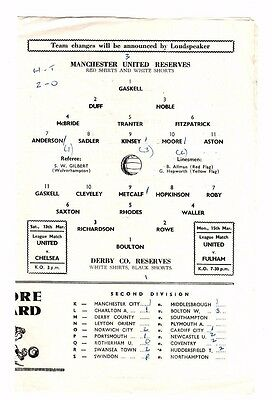 1964/65 Manchester United Reserves vs Derby County Reserves