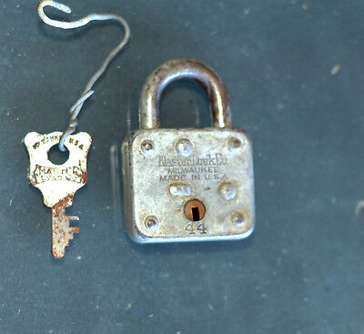 Vintage Master Lock Co Padlock And Key