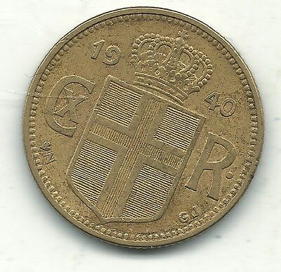 A Very Nice Better Grade 1940 Iceland 1 Krona Coin-Feb205