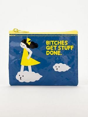 Bitches Get Stuff Done Coin Purse Blue Q Small Wallet Card Holder Funny Gifts